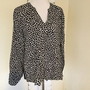 Vince Camuto Animal Print Colorblock Top High Low
